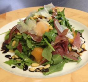 Plate of Melon Proscutto Salad