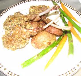 Plate of Pistachio Crusted Lamb